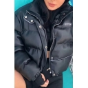 Womens Chic Reflective Stripe Decoration Cover Placket Long Sleeve Drawstring Hem Warm Short Puffer Jacket