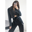 Womens Basic Black Long Sleeve Button Fly Front Slim Fit Cropped Jean Coat Jacket