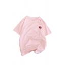 Womens Cute Alien Pattern Striped Round Neck Short Sleeve Casual T-Shirt