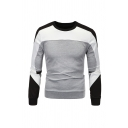 Geometric Panel Long Sleeve Crew Neck Side Zipper Slim Fit Casual Pullover Sweatshirt