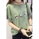 Active Cartoon Girls Printed Tribal Floral Short Sleeve Loose Fit T-Shirt Top