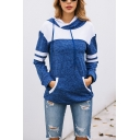 Womens Fashionable Colorblock Stripe Long Sleeve Kangaroo Pocket Regular Fit Pullover Hoodie