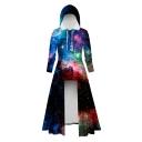 Womens Hot Popular 3D Milk Star Galaxy Print Long Sleeve High Low Maxi Hooded Dress