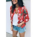Stylish Floral Print Stand Up Collar Long Sleeve Zip Up Casual Fitted Jacket
