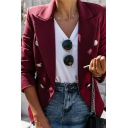 Plain Peak Collar Long Sleeve Double Breasted Work Office Blazer for Women