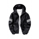 Mens Classic White Stripes Patch Long Sleeve Zip Up Loose Fit Black Thin Casual Track Jacket Hooded Coat