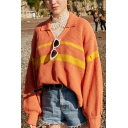 Preppy Chic Stripe Printed Long Sleeve Lapel Collar High Low Hem Oversized Pullover Sweater