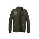 Men's Stylish HTNOAI WEARST Letter Flag Logo Embroidery Stand Collar Zip Closure Casual Military Jacket