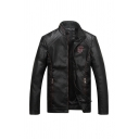 Mens Black Embroidered Pattern Stand Collar Zipper Cuff Long Sleeve Zip Front Slim Fit Faux Leather Biker Jacket