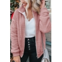 Womens Stylish Solid Color Lapel Zip Up Long Sleeve Plush Fluffy Warm Outdoor Coat