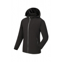 Sportive Plain Long Sleeve Zip Up Waterproof Outdoor Training Hooded Thick Jacket