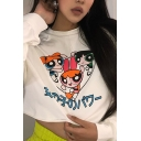 Anime Cartoon Girls Printed Long Sleeve Mock Neck White Cropped Pullover Sweatshirt Top
