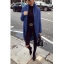Womens Unique Long Sleeve Open Front Asymmetric Hem Plain Tunic Cocoon Cardigan Knitwear
