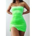 Womens Casual Green Heart Rhinestone Decoration Side Slit Mini Fitted Tube Dress