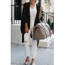Womens Plain Fashion Irregular Hem Longline Oversized Knit Cape Cardigan