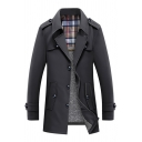 Mens Fashionable Plain Notched Lapel Long Sleeve Button Down Longline Thick Trench Coat with Epaulets
