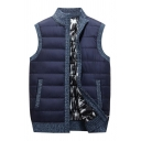 Mens Casual Navy Blue Stand Collar Zip Up Contrast Trim Quilted Vest Coat with Pocket