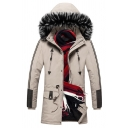 Mens Casual Striped Long Sleeve Zipper Embellished Drawstring Waist Button Front Faux Fur Hooded Ultra Parka in Khaki