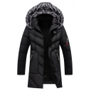 Men's Warm Black Long Sleeve Zip Up Fur Trimmed Hooded Down Parka Thick Overcoat
