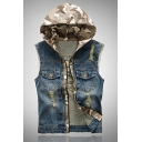 Simple Camo Paneled Hood Sleeveless Zip Up Ripped Slim Fitted Denim Jean Vest with Pocket