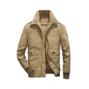 Mens Winter Warm Sherpa Lined Lapel Collar Long Sleeve Zip Placket Khaki Thick Leisure Jacket Coat