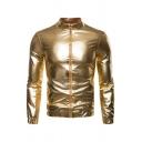 Mens Popular Disco Dancing High Collar Zip Up Long Sleeve Elastic Cuff Slim Fit Fitted Metallic Jacket