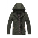 Mens Casual Plain Long Sleeve Zip Placket Slim Fit Army Green Thin Hooded Jacket Coat