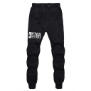 Mens Popular Letter STAR LABORATORIES Printed Black Drawstring Waist Casual Jogger Pants