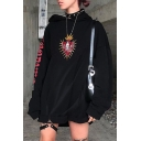 Cool Thorns Rose Heart Pattern Letter Printed Long Sleeve Longline Black Oversized Hoodie with Leather Ring