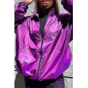 Womens Fashionable Purple Metallic Stand Collar Zip Up Drawstring Hem Loose Fit Windbreaker Coat