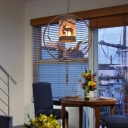 1/2/3-Head Metal Ring Hanging Pendant with Bird Rustic Ceiling Light with Cylinder Shade and Elk Pattern in Centennial Rust