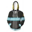 New Fashion Colorblock Stripe 3D Printed Cosplay Costume Long Sleeve Black Zip Up Hoodie