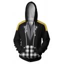 Mens Casual Plaid Pattern Long Sleeve Zip Up Loose Fit Black Cosplay Hoodie