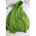 Classic Plain Embroidery Letter Printed Chest Long Sleeve Green Oversized Drawstring Hoodie
