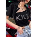 Girls Cool Rhinestone Letter KILL Printed Tank Short Sleeve Zip Placket Cropped Coat Black Casual Two-Piece Set