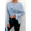 Womens Elegant Light Blue Knot Button Embellished Irregular Long Sleeve Belted Cropped Designer Sweater