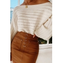 Womens Elegant Plain Off Shoulder Lantern Long Sleeve Knitted Loose Holey Pullover Sweater