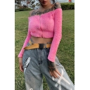 Womens Sexy Plain Pink Off the Shoulder Long Sleeve Zip Up Slim Fit Cropped Fluffy Sweater Top