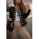 Womens Popular Black Round Neck Button Embellished Long Sleeve Slim Fit Jacket Blazer