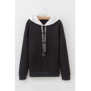 Womens Stylish Color Block Letter Tape Drawstring Hood Long Sleeve Pouch Pocket Pullover Hoodie