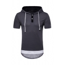 Mens Popular Colorblock Short Sleeve Button Front Arc Irregular Hem Drawstring Henley Hoodie