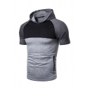 Mens Simple Color Block Raglan Short Sleeve Zipper Embellished Slim Fit T-Shirt Hoodie