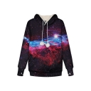 Womens Stylish 3D Galaxy Printed Long Sleeve Cat Ear Drawstring Hoodie