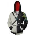 Mens Fashionable Color Block Long Sleeve Full Zip Black & White Game Cosplay Hoodie