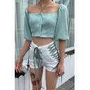 Womens Solid Color Off Shoulder Lantern Sleeve Single Breasted Sexy Cropped Sweater Cardigan