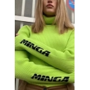 Womens Simple Letter MINGA Printed Long Sleeve Turtleneck Slim Fit Fluorescent Green Pullover Sweater