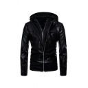 Mens Punk Plain Black Long Sleeve Double Zip Slim Fit PU Biker Jacket with Hood