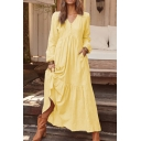 Womens Casual Solid Color Long Sleeve Button Embellished Linen Maxi Swing Dress
