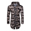 Mens Active Camo Printed Slim Fit Split Curved Hem Zip Closure Longline Hooded Sports Jacket Hoodie