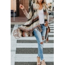 Womens Classic Striped Tassel Oversized Long Cross Wrap Cardigan Shawl Sweater